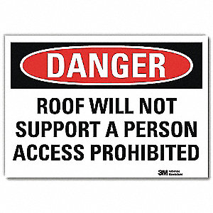 "Fall Protection, Danger, Vinyl, 10"" x 14"", Adhesive Surface, Engineer"
