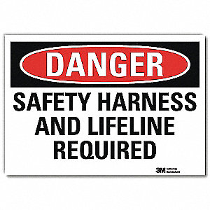 "Fall Protection, Danger, Vinyl, 5"" x 7"", Adhesive Surface, Engineer"