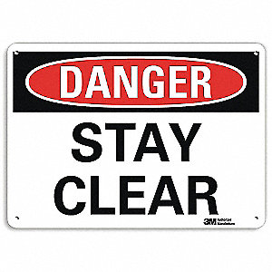"Keep Clear, Danger, Recycled Aluminum, 7"" x 10"", With Mounting Holes, Engineer"