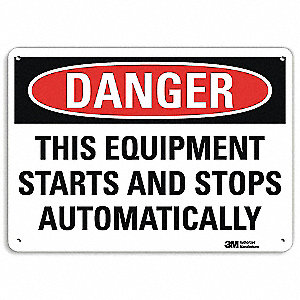 "Machine and Operational, Danger, Aluminum, 10"" x 14"", With Mounting Holes, Engineer"