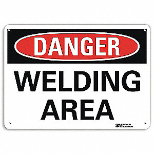 "Welding Hazard, Danger, Recycled Aluminum, 10"" x 14"", With Mounting Holes, Engineer"
