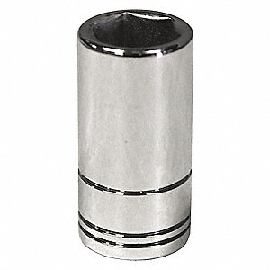 "8mm Steel Socket with 1/4"" Drive Size and Chrome Finish"