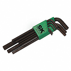 Long L-Shaped Metric Black Oxide Hex Key Set, Number of Pieces: 9