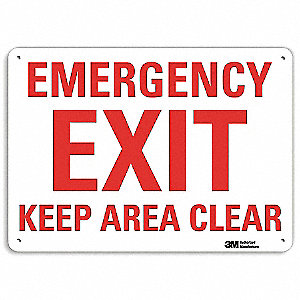 "Emergency Exit Sign,10"" x 7"",Aluminum"