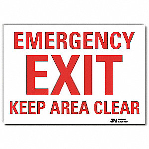 "Emergency Exit Sign,10"" x 7"",Vinyl"