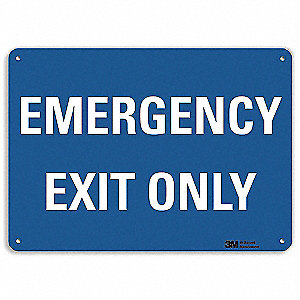 "Emergency Exit Sign,14"" x 10"",Aluminum"