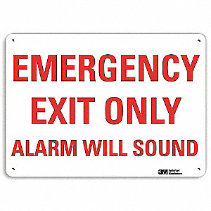 "Exit Sign, Alarm Will Sound, 10""Hx14""W"