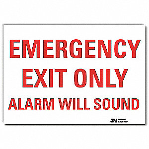 "Emergency Exit Sign,14"" x 10"",Vinyl"
