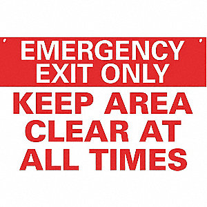 "Exit Sign, Emergency Exit, 10""Hx14""W"