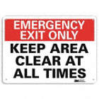 Emergency Exit Only: Keep Area Clear At All Times Signs