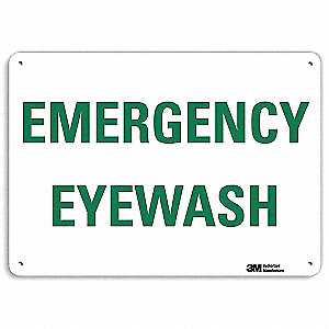 "Eyewash and Shower, No Header, Recycled Aluminum, 10"" x 14"", With Mounting Holes"