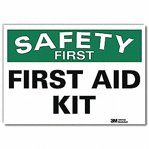 "First Aid, No Header, Vinyl, 7"" x 10"", Adhesive Surface, Engineer"