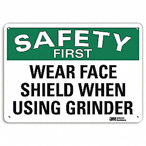 "Personal Protection, No Header, Recycled Aluminum, 10"" x 14"", With Mounting Holes, Engineer"