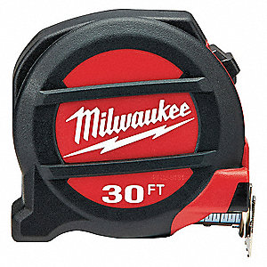 30 ft. Steel SAE Tape Measure, Black/Red