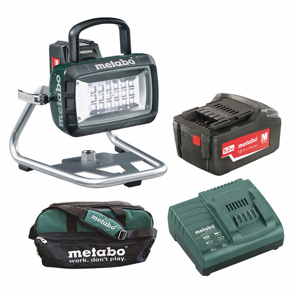 metabo cordless site light 14 4 or 18 0 voltage led 1200 2600 lumens battery included. Black Bedroom Furniture Sets. Home Design Ideas