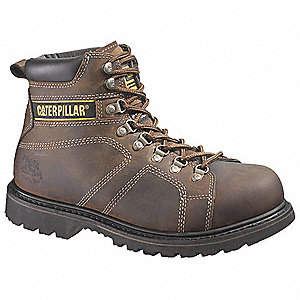 "6""H Men's Work Boots, Steel Toe Type, Leather Upper Material, Brown, Size 10-1/2M"