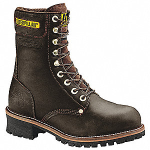 "9""H Men's Work Boots, Steel Toe Type, Leather Upper Material, Brown, Size 7-1/2M"