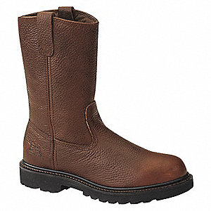 "11""H Men's Work Boots, Steel Toe Type, Leather Upper Material, Brown, Size 9-1/2M"