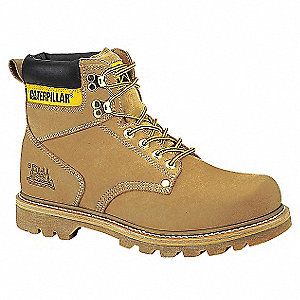 "6""H Men's Work Boots, Steel Toe Type, Leather Upper Material, Wheat, Size 9M"