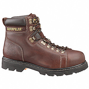 "6""H Men's Work Boots, Steel Toe Type, Leather Upper Material, Brown, Size 6-1/2W"