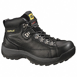 "6""H Men's Work Boots, Steel Toe Type, Leather Upper Material, Black, Size 12W"