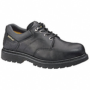 Men's Work Boots, Steel Toe Type, Leather Upper Material, Black, Size 12M