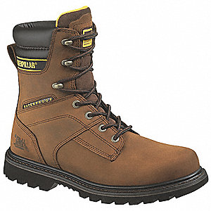 "8""H Men's Work Boots, Steel Toe Type, Leather Upper Material, Brown, Size 11-1/2M"