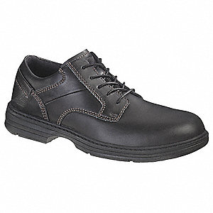 Men's Work Boots, Steel Toe Type, Leather Upper Material, Black, Size 12W