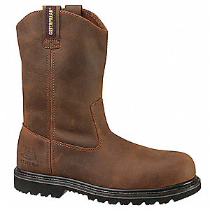 "11""H Men's Work Boots, Steel Toe Type, Leather Upper Material, Brown, Size 9M"
