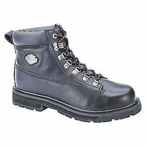 "5""H Men's Work Boots, Steel Toe Type, Leather Upper Material, Black, Size 12D"