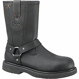 "9-1/2""H Men's Work Boots, Steel Toe Type, Leather Upper Material, Black, Size 7D"