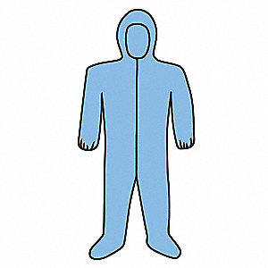 Coveralls with Elastic Cuff, Polyester, Wood Pulp Material, Blue, 5XL