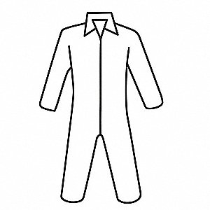 Coveralls with Open Cuff, Polypropylene Material, White, XL