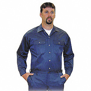 "Navy Flame-Resistant Collared Shirt, Size: 3XL, Fits Chest Size: 56"" to 58"", 8.1 cal./cm2 ATPV Ratin"