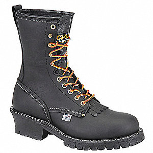 "9""H Men's Work Boots, Steel Toe Type, Leather Upper Material, Black, Size 10-1/2EEEE"