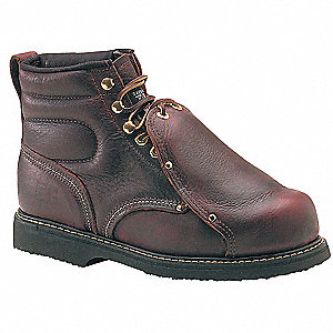 "6""H Unisex Work Boots, Steel Toe Type, Leather Upper Material, Brown, Size 6D"