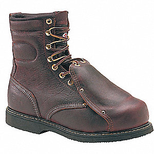 "8""H Men's Work Boots, Steel Toe Type, Leather Upper Material, Brown, Size 7-1/2EE"