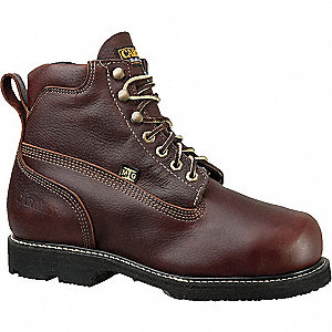 "6""H Men's Work Boots, Steel Toe Type, Leather Upper Material, Brown, Size 10D"