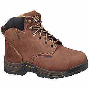 "5""H Women's Work Boots, Aluminum Toe Type, Leather Upper Material, Brown, Size 8-1/2W"