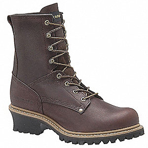 Logger Boot,  8-1/2,  D,  Men's,  Brown,  Steel Toe Type,  1 PR