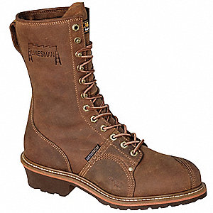 "10""H Men's Work Boots, Composite Toe Type, Leather Upper Material, Brown, Size 8D"