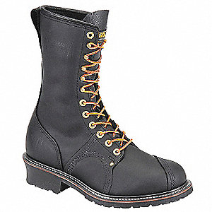 "10""H Men's Work Boots, Steel Toe Type, Leather Upper Material, Black, Size 12EE"