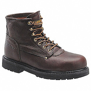 "6""H Men's Work Boots, Steel Toe Type, Leather Upper Material, Brown, Size 11D"