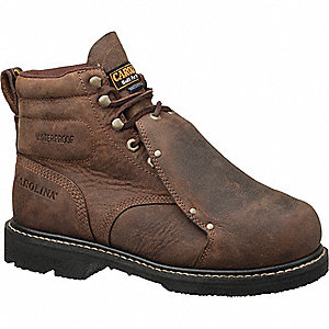 "6""H Men's Work Boots, Steel Toe Type, Leather Upper Material, Brown, Size 9D"