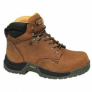 "6""H Men's Work Boots, Composite Toe Type, Leather Upper Material, Brown, Size 7-1/2EE"