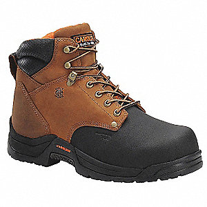 "6""H Men's Work Boots, Composite Toe Type, Leather Upper Material, Brown, Size 13EE"