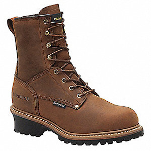 "8""H Men's Work Boots, Steel Toe Type, Leather Upper Material, Brown, Size 9EEEE"