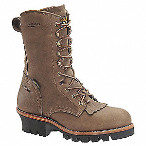 "10""H Men's Work Boots, Steel Toe Type, Leather Upper Material, Brown, Size 11D"
