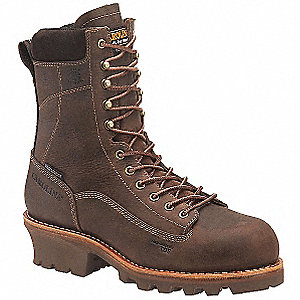 "8""H Men's Work Boots, Composite Toe Type, Leather Upper Material, Brown, Size 12EEE"