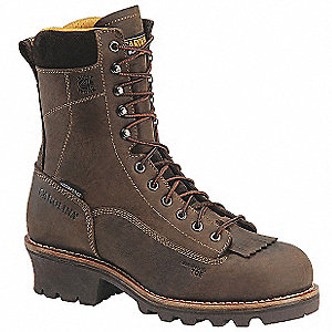 "8""H Men's Work Boots, Composite Toe Type, Leather Upper Material, Brown, Size 9D"